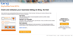 Screenshot of Bing Local Business