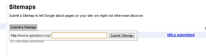 Sitemap Submission in Google Webmasters Tool